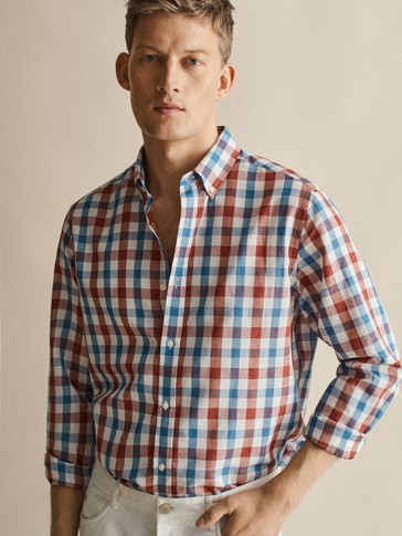 REGULAR FIT CHECKED COTTON LINEN SHIRT
