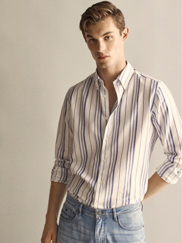 REGULAR FIT COTTON AND LINEN MULTI-STRIPE SHIRT