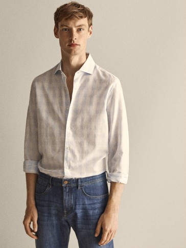 SLIM FIT GINGHAM COTTON LINEN SHIRT