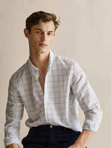 CAMICIA SLIM FIT IN COTONE E LINO A QUADRI