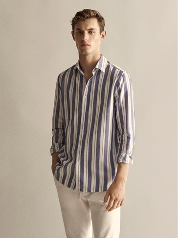 SLIM FIT COTTON AND LINEN MULTI-STRIPE SHIRT