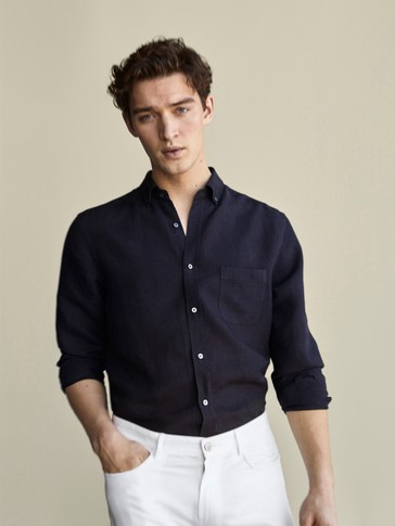 REGULAR FIT PLAIN 100% LINEN SHIRT