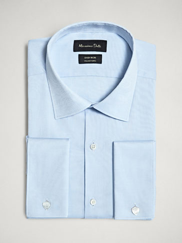 COTTON TAILORED FIT EASY IRON TEXTURED SHIRT