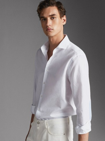 REGULAR FIT COTTON AND LINEN SHIRT WITH ELBOW PATCHES