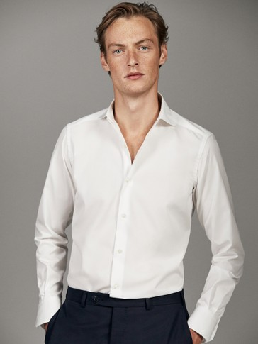 PLAIN POPLIN TAILORED FIT EASY IRON SHIRT