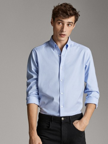REGULAR FIT COTTON SHIRT WITH ELBOW PATCHES