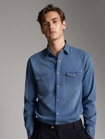 SLIM FIT COTTON DENIM SHIRT WITH TWO POCKETS