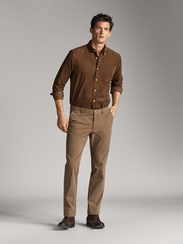 SLIM FIT COTTON NEEDLECORD SHIRT