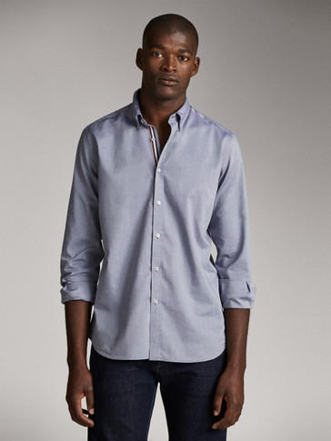 SLIM FIT COTTON SHIRT WITH CONTRAST TAPING