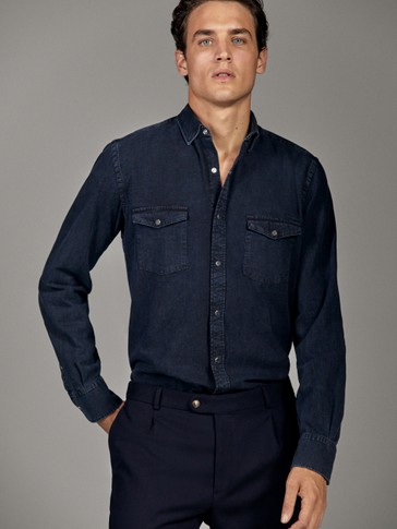 SLIM FIT DENIM SHIRT WITH DOUBLE POCKETS
