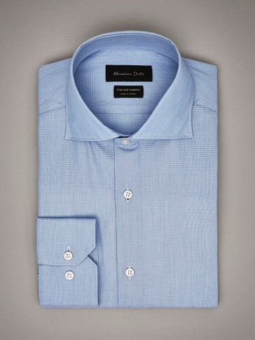 SLIM FIT FALSE PLAIN COTTON SHIRT