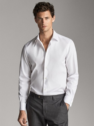 TAILORED FIT TEXTURED PLAIN SHIRT