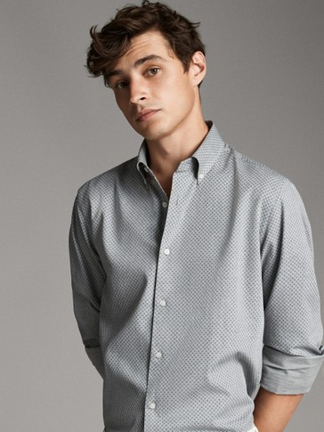 SLIM FIT PRINT HEATHERED COTTON SHIRT