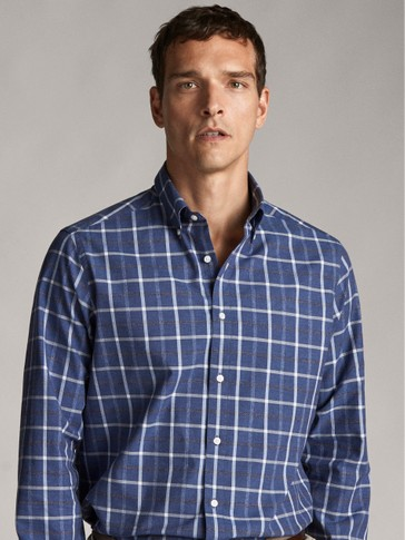 REGULAR FIT CHECKED COTTON SHIRT