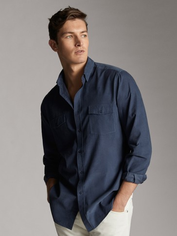 SLIM FIT COTTON NEEDLECORD SHIRT WITH POCKETS