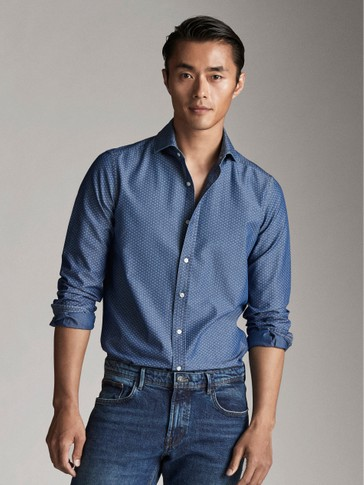 CAMICIA SLIM FIT DENIM FANTASIA