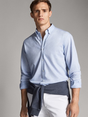SLIM FIT TEXTURED KNIT SHIRT
