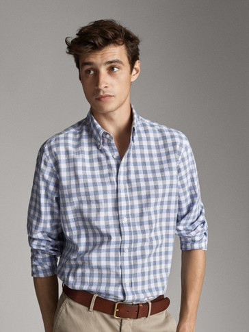 قميص قطن مربعات سليم فيت