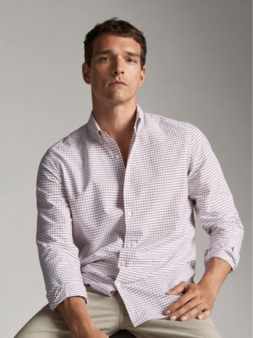 CAMICIA DI COTONE A QUADRI REGULAR FIT