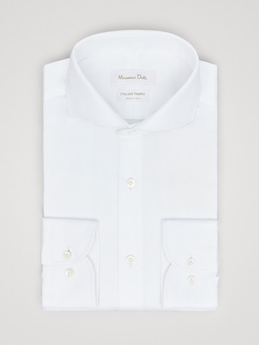 SLIM FIT COTTON SHIRT WITH TEXTURED WEAVE