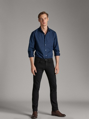 SLIM FIT NAVY BLUE PRINTED SHIRT