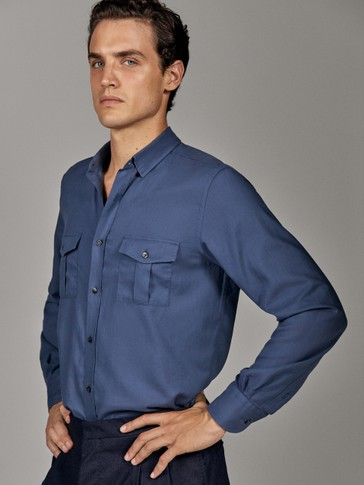 LIMITED EDITION SLIM FIT FLANNEL SHIRT WITH TWO POCKETS