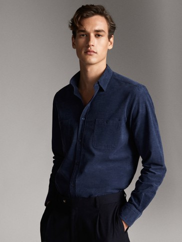 FINE CORDUROY HEATHER SLIM FIT SHIRT WITH POCKETS