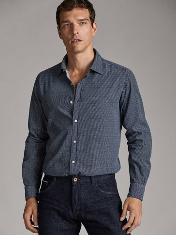 NAVY PRINTED SLIM FIT NEEDLECORD SHIRT