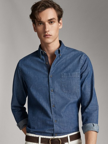 SLIM FIT DENIM COTTON SHIRT WITH POCKETS