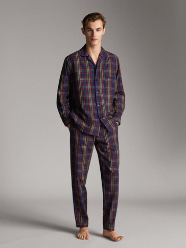 BUTTONED CHECK COTTON PYJAMAS