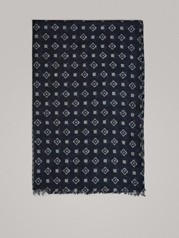 NAVY DOUBLE CHECK PRINT WOOL SCARF