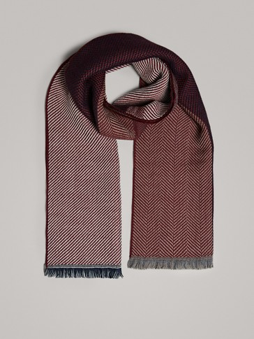 MULTITEXTURED WOOL SCARF