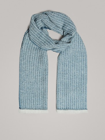 MULTICOLOURED WOOL TEXTURED SCARF