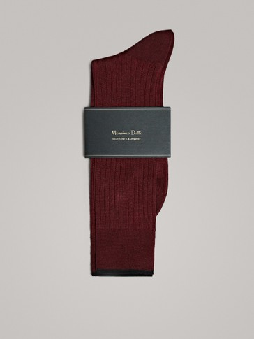 CASHMERE COTTON TWO-TONE SOCKS