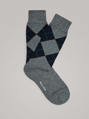 INTARSIA COMBED COTTON SOCKS