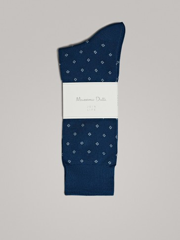 BRUSHED COTTON SOCKS WITH DIAMONDS