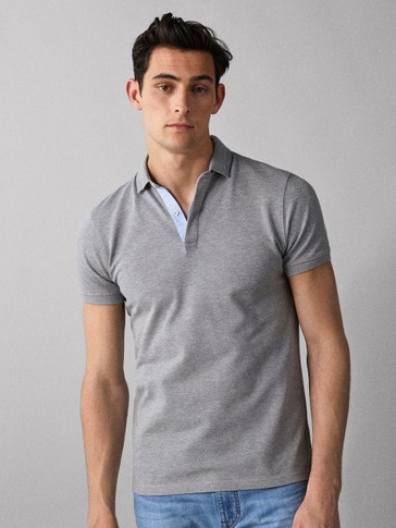 COTTON POLO SHIRT WITH TEXTURED COLLAR