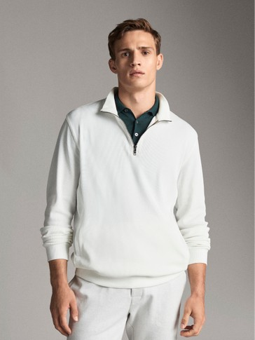 COTTON SWEATSHIRT WITH ZIP AND POCKETS