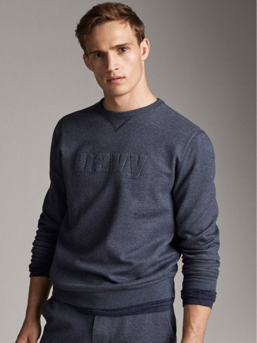 'NAVY' COTTON SWEATSHIRT