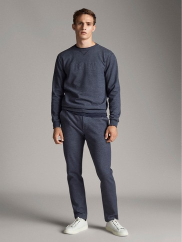 NAVY BLUE JOGGING-STYLE TROUSERS