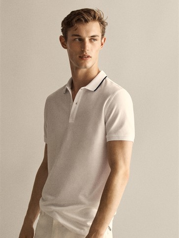 COTTON POLO SHIRT WITH CONTRAST PIPING