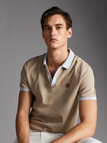 COTTON POLO SHIRT WITH CONTRAST COLLAR AND LOGO