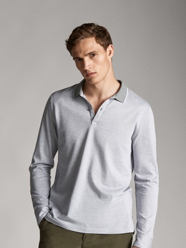 TWILL COTTON POLO SWEATER