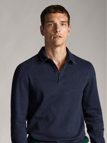 NAVY BLUE CHECK COTTON POLO SHIRT