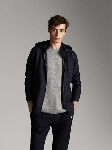 HOODED JACKET WITH ELBOW PATCHES