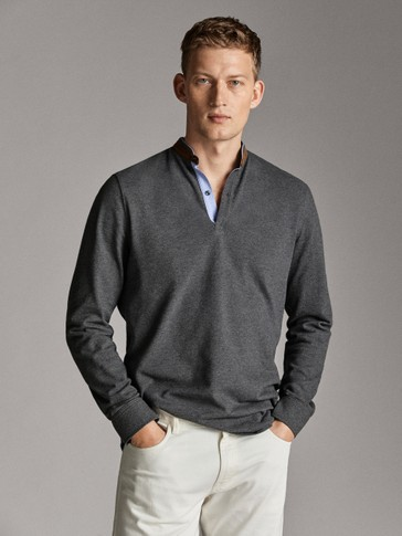 LONG SLEEVE HEATHERED POLO SHIRT WITH A STAND-UP COLLAR