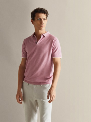 TEXTURED COTTON POLO-STYLE SWEATER WITH CONTRAST PIPED SEAMS