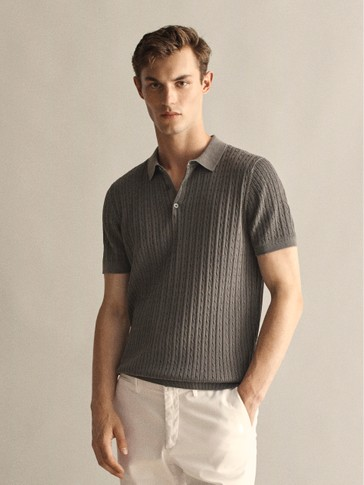 100% COTTON CABLE-KNIT POLO SWEATER