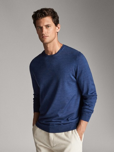 قميص 100% من صوف الميرينو سادة