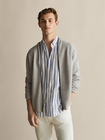 TEXTURED COTTON CARDIGAN